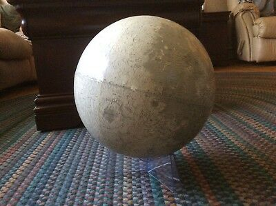 "Rand McNally~12""~1969~Lunar Globe with Stand~ORIGINAL GUIDE and INDEX"