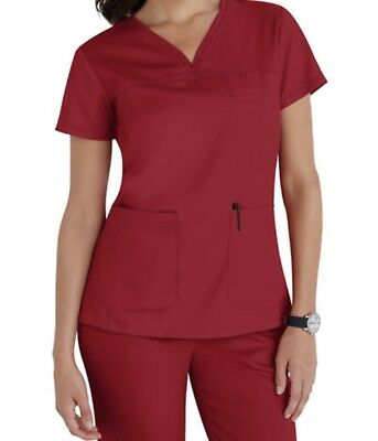 Greys Anatomy 3 Pocket V-neck Yoke Scrub Tops XS Hot Tamale