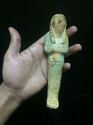 EGYPTIAN ANTIQUITIES FAIENCE USHABTI Statue Shabti FALCON Hor God Horus Egypt BC