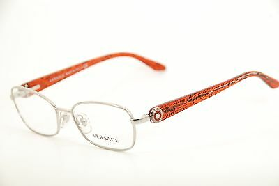 850ae710b7bc6 New Authentic Versace 1210 1000 Silver Red Black 52mm Frames Eyeglasses RX  Italy