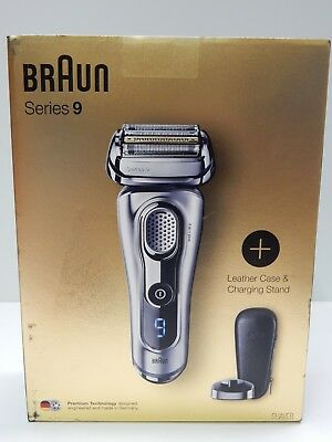 New 2018 Braun 9260PS Series 9 Wet & Dry Electric Shaver Leather Case & Stand