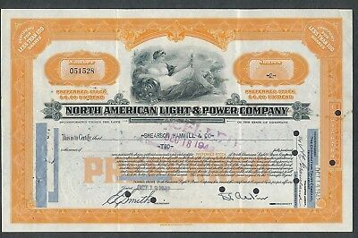 1942 North American Light & Power Company Stock Certificate