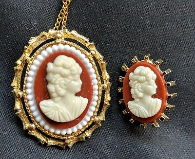 Set of 2 Vintage Lady Head Cameo Necklace Pendant Beautiful NOS