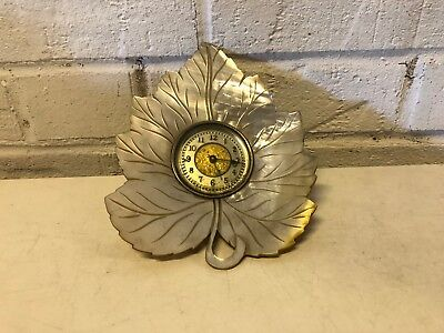 Antique Ansonia Mother of Pearl Wall Hanging Decorative Leaf Clock