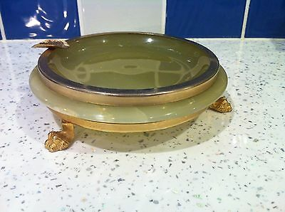 Vintage Mid Century Green Polished Onyx Gilt Rim Ashtray Desk Tidy Pen Rest