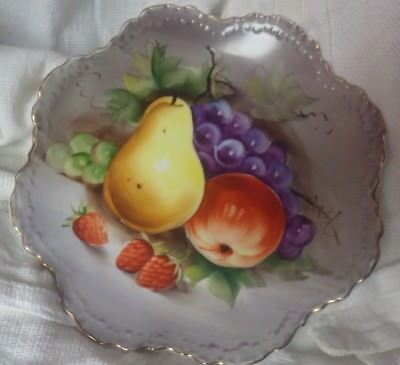 Antique Lefton China Hand Painted Fruit on Scalloped Plate & gold edging 1950-55