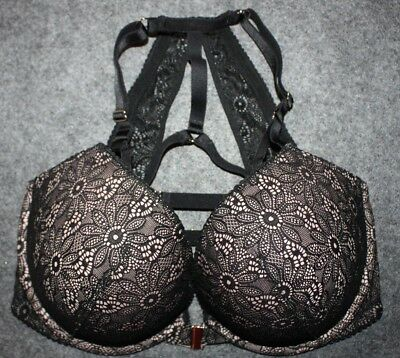 c6d97b99a3b31 Victorias Secret Very sexy push up Bra Front Close Strappy Racerback BLACK  34DDD