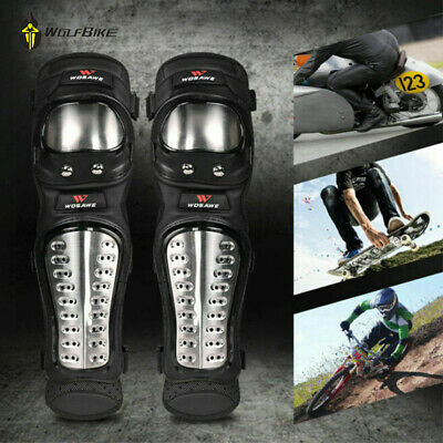 Motorcycle Stainless Steel Elbow Knee Pads Shin Guards Protective Gear Armour