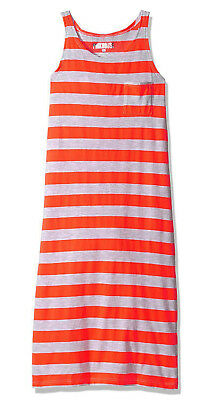 Pinkhouse Girls Chest Pocket Racer Back Striped Maxi Dress, Neon Orange/ Gray 6X