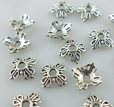 150/450pcs Small Flower End Bead Caps Tibetan Silver Crafts Jewelry Findings