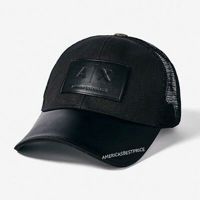 d7b6a6a3512 Armani Exchange Ax New Men s Hat cap Leather Brim Adjustable Leather Strap  Nwt