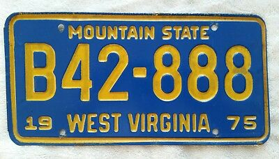 1975 West Virginia ~ Mountain State ~ TRUCK License Plate #42-888  W VA