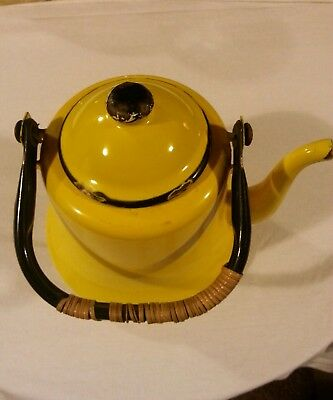 Teapot decorative yellow made in Japan very old