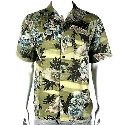 5303fb55 Hawaiian Havana Jack's Cafe Shirt Men's Med Green Short Sleeve Silk Button  Front