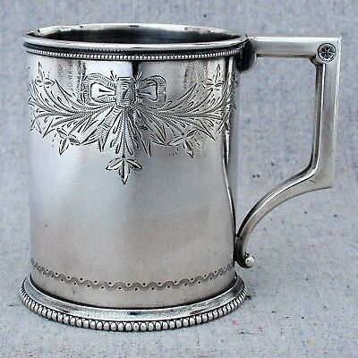 Antique Gorham Sterling Silver Handled Cup Mug 1870 Engraved Bow Swag Christmas