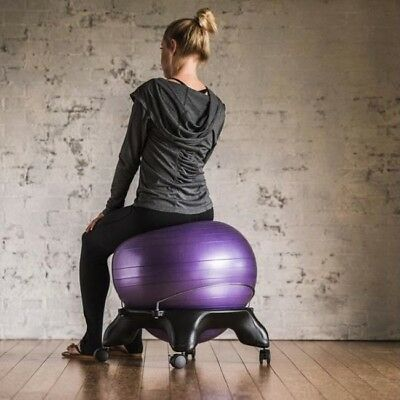 Gaiam Classic Gym Yoga Exercise Fitness Balance Ball Office Desk Chair Purple
