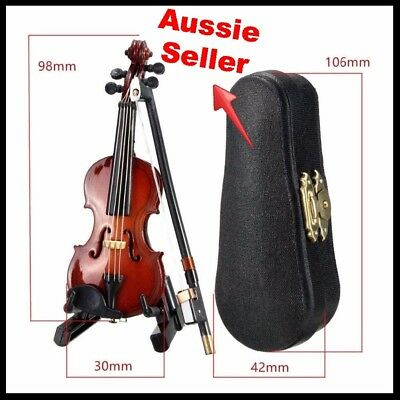 Violin miniature musical string instrument with support bow & case gift ornament