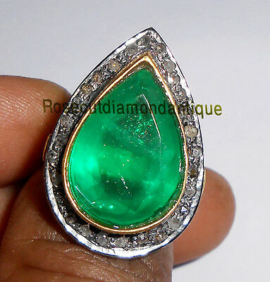 ESTATE HAND-MADE 0.58ct ANTIQUE ROSE CUT DIAMOND SILVER 925 VINTAGE EMERALD RING