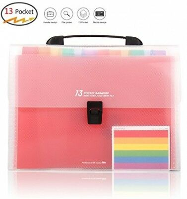 HJSMing 13 Pockets-Handle Portable File Folders/Expandable Folders/Multicolor