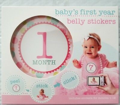 NEW BABY'S FIRST YEAR Peel-and-Stick Belly Stickers PINK Girl Months 1-12