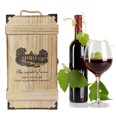 Engraved Retro Wooden Two Bottles Wine Box Decor Wedding Valentines Best Gift