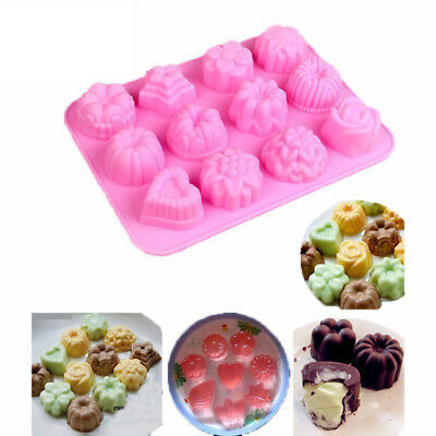 Creative 12 Cups Silicone Flowers Charlotte Cake Chocolate Candy Baking Mold New