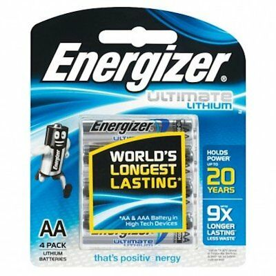 Energizer  AA Ultimate Lithium 4 Pack  Batteries New & Sealed