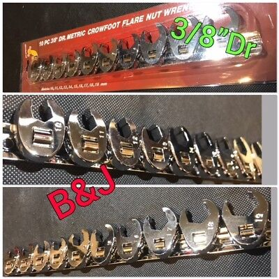 """10 Pc 3/8"""" Dr Metric Crowfoot Flare Nut Wrench Set Crows feet Driver Spanner Too"""