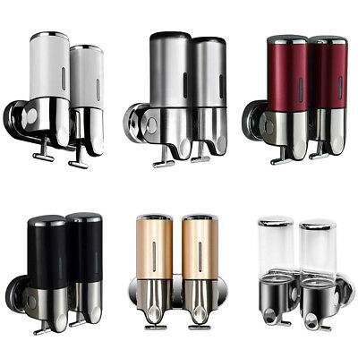 2 X Double Wall Mount Shower Pump Shampoo and Soap Dispensers Stainless Steel