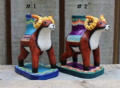 Ram Bighorn Sheep Hand Made Candle Holder SOLD SEPARATELY Mexico Folk Art Puebla