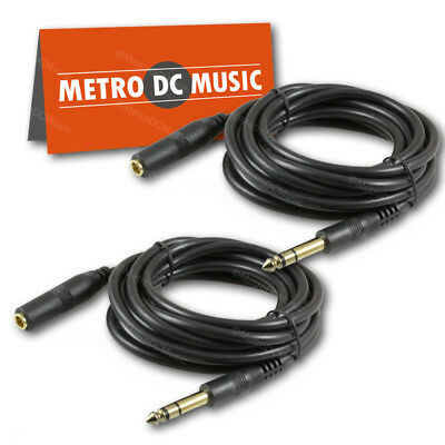 """2-Pack 10 ft Stereo Headphone Extension Cable 1/4"""" TRS Male to Female Cord 6.35"""