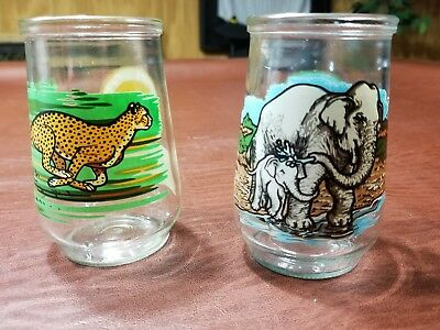 Welch's Jelly Glasses Endangered Species Collection #4 Cheetah #9 Asain Elephant