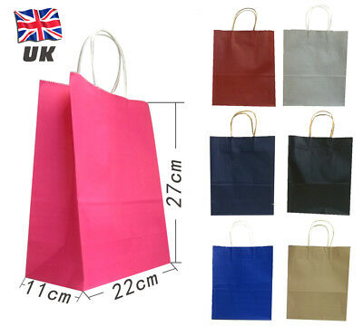 Cheapest- 50 Big Size 29*21*10cm Kraft Party Loot Gift Carrier Bag Twist Handle