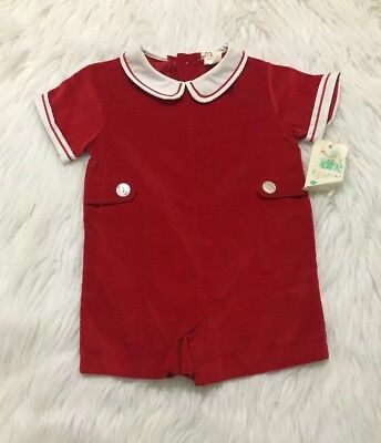 Vintage Fawn Togs Red W/White Striped Collar Baby Toddler Romper Sz 2T