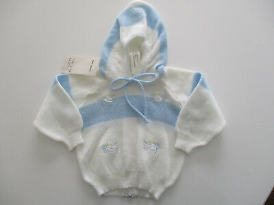 Vintage Carriage Boutiques Sweater Sz. 6 mos. Boy's Blue White Hooded New NWT