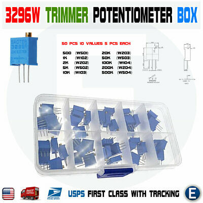50pcs 10 Value New 3296W Multiturn Variable Resistor Trimmer Potentiometer Kit