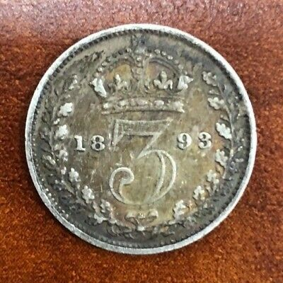 1893 British Silver Three Pence Coin .925 Crown Sterling Beautiful Coin! SC104