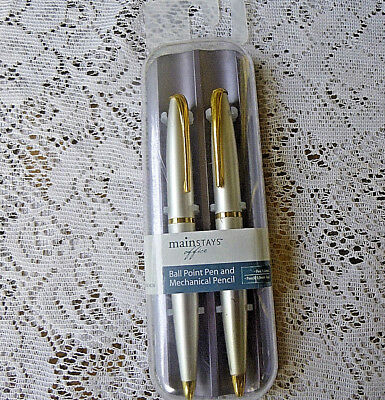 Mainstays Office Ballpoint Pen and Mechanical Pencil Set Pearl Goldtone Trim NEW