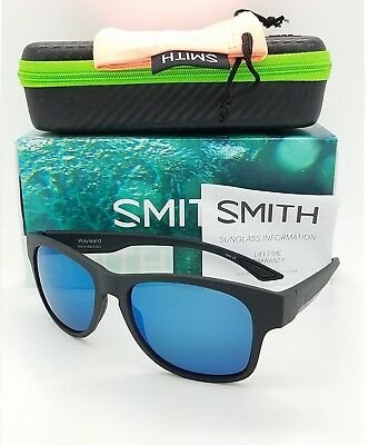 01e1bd354a NEW Smith Wayward Sunglasses Matte Black Chromapop Polarized Blue Mirror   219