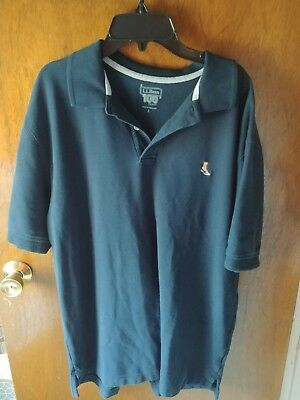 Vintage LL Bean 100th anniversary Mens Polo Shirt Embroidered Boot Logo Large ME