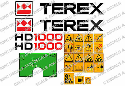Terex Hd1000 Dumper Decals Stickers Warning Stickers And Green Dash Sticker