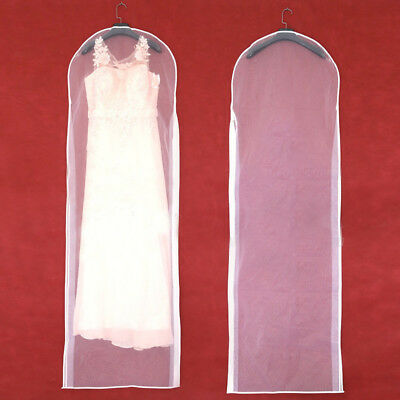 155* 58cm White Wedding Dress Bridal Gown Garment Breathable Cover Storage Bag