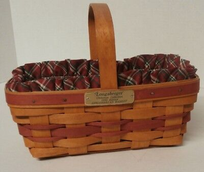Longaberger Christmas Collection 1990 Gingerbread Basket with Liner