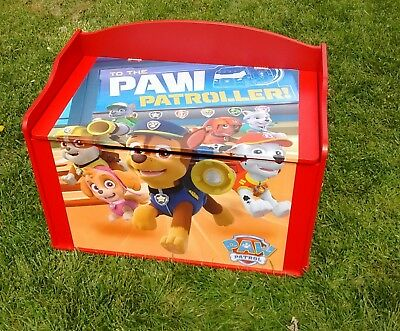 Custom Made PAW PATROL RED TOY CHEST BENCH STORAGE! Stunning! GREAT GIFT!