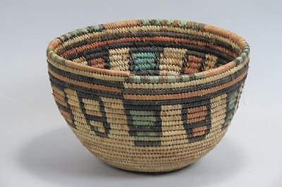 Hausa African Tribal Coil Basket Excellent Condition Vibrant Colors Nigerian