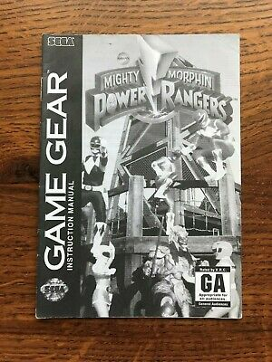 Mighty Morphin Power Rangers Sega Game Gear Instruction Manual Only