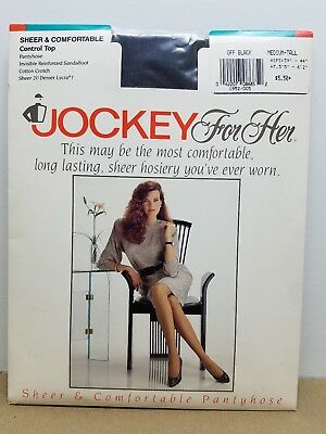 Vintage Pantyhose Jockey For Her Sheer & Comfortable Off Black Size Medium Tall