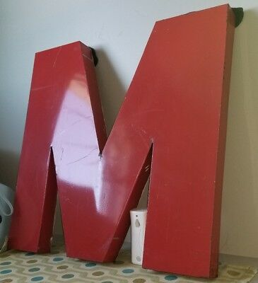 "36"" Large Vintage Metal Sign Letter ""M"" Salvage Wall Art Marquee Industrial Cool"