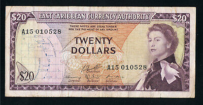 East Caribbean States 20 Dollars ND ( 1965 ) P 15 g Fine