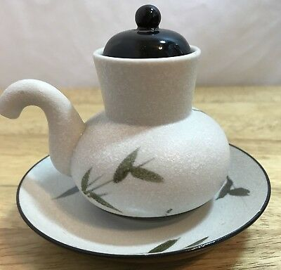 Vtg. OMC Japan Pot, Sake, Tea, Oil Japanese Pottery Bamboo Design, saucer, lid